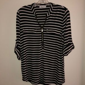 Calvin Klein Striped ZIP Front Roll-up Sleeve Top